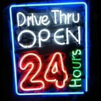 Drive Thru Open 24 Hours Noneon Sign Neonskylt