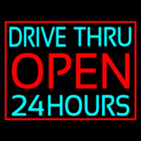 Drive Thru Red Open 24 Hours Neonskylt
