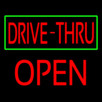 Drive Thru With Green Border Block Open Neonskylt