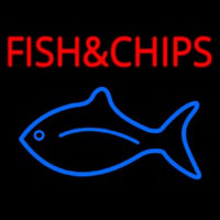 Fish And Chips With Fish Logo  Neonskylt