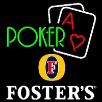 Fosters Green Poker Beer Sign Neonskylt