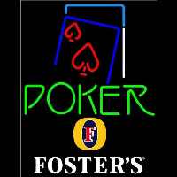 Fosters Green Poker Red Heart Beer Sign Neonskylt