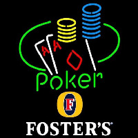 Fosters Poker Ace Coin Table Beer Sign Neonskylt