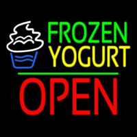 Frozen Yogurt Block Open Green Line Neonskylt