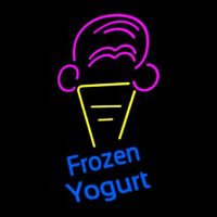 Frozen Yogurt Blue Ltrs With Cone Logo Neonskylt