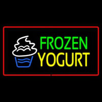 Frozen Yogurt Rectangle Red Neonskylt