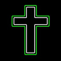 Green And White Christian Cross Neonskylt