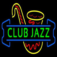 Green Club Jazz Block With Sa ophone 3 Neonskylt