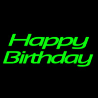 Green Cursive Happy Birthday Neonskylt