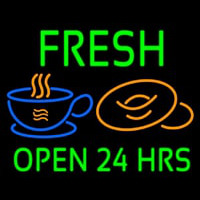 Green Fresh Open 24 Hrs Cups And Donuts Neonskylt