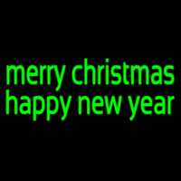 Green Merry Christmas Happy New Year Neonskylt