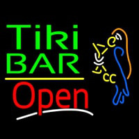 Green Tiki Bar With Parrot Martini Glass Open Neonskylt