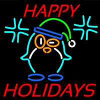 Happy Holidays With Snow Man Logo Neonskylt