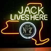 Jack Daniels Jack Lives New York Whiskey Öl Bar Öppet Neonskylt
