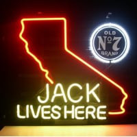 Jack Daniels Lives Here California Old #7 Whiskey Öl Bar Öppet Neonskylt