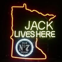 Jack Daniels Lives Here Minnasota Whiskey Neon Öl Bar Skylt