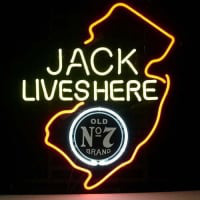 Jack Daniels Lives Here New Jersey Whiskey Neon Öl Bar Skylt