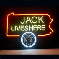 Jack Daniels Lives Here Pennsylvania Old #7 Whiskey Öl Bar Öppet Neonskylt