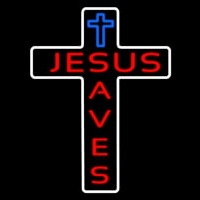 Jesus Saves With Cross Neonskylt