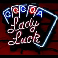 Lady Luck Poker Öl Bar Neonskylt