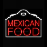Mexican Food Red Building Neonskylt