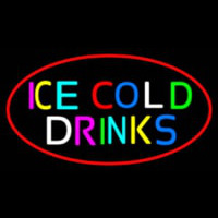 Multi Colored Ice Cold Drinks Neonskylt