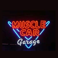 Muscle Car Garage Butik Öppet Neonskylt