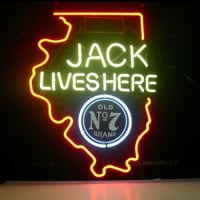 New Jack Daniels Lives Here Illinois Old #7 Whiskey Neon Öl Skylt