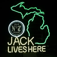 New Jack Daniels Lives Here Michigan Whiskey Real Neon Öl Bar Skylt