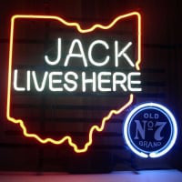New Jack Daniels Lives Here Ohio Old #7 Whiskey Real Neon Öl Bar Skylt