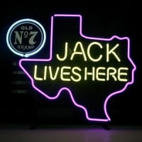 New Jack Daniels Lives Here Texas Old #7 Whiskey Real Neon Öl Bar Skylt