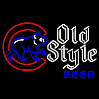 Old Style Chicago Cubs Walking Cubby Beer Sign Neonskylt