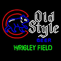 Old Style Walking Cubby Wrigley Field Version Beer Sign Neonskylt