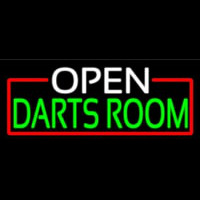 Open Darts Room With Red Border Neonskylt