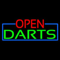 Open Darts With Blue Border Neonskylt