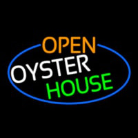 Open Oyster House Oval With Blue Border Neonskylt