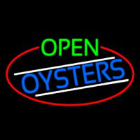 Open Oysters Oval With Red Border Neonskylt