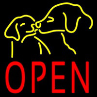 Open With Dogs Neonskylt