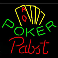 Pabst Poker Yellow Beer Sign Neonskylt