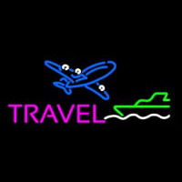 Pink Travel With Logo Neonskylt