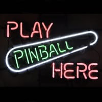 Play Pinball Here Game Room Öl Bar Neonskylt