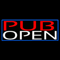 Pub Open With Blue Border Neonskylt