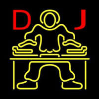 Red DJ Disc Jockey Music Neonskylt