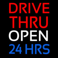 Red Drive Thru Open 24 Hrs Neonskylt