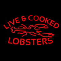 Red Live And Cooked Lobsters Seafood Neonskylt