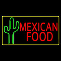 Red Me ican Food With Cactus Logo Neonskylt