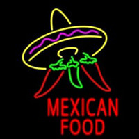 Red Mexican Food Logo Neonskylt
