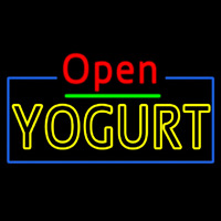 Red Open Double Stroke Yogurt Neonskylt