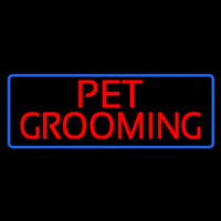 Red Pet Grooming Blue Border Neonskylt
