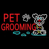 Red Pet Grooming Neonskylt